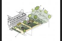 THIRD PHASE: Sketch of sheltered garden at Hayle North Quay May 2018  Source:fcbstudios